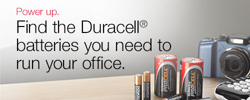 Power up. Find the Duracell® batteries you need to run your office.