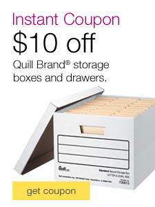 $10 off your $60 purchase of Quill Brand Storage Boxes & Drawers.