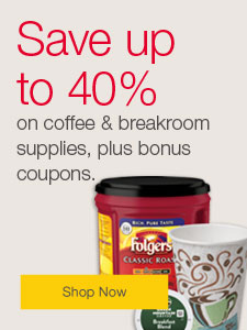 Save up to 40% on coffee and breakroom supplies, plus bonus coupons.