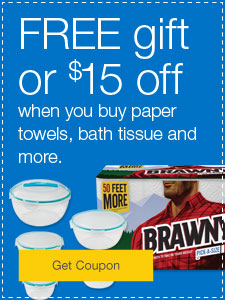 FREE gift or $15 off when you buy paper towels, bath tissue and more.