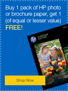 Buy 1 pack of HP photo or brochure paper, get 1 (of equal or lesser value) FREE!