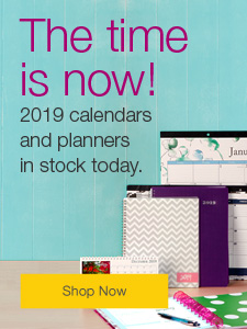 The time is now! 2019 calendars and planners in stock today.