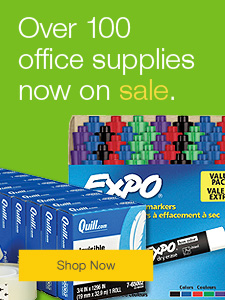 Over 100 office supplies now on sale.