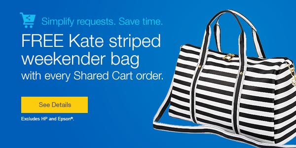 FREE Kate striped weekender bag with every Shared Cart order.